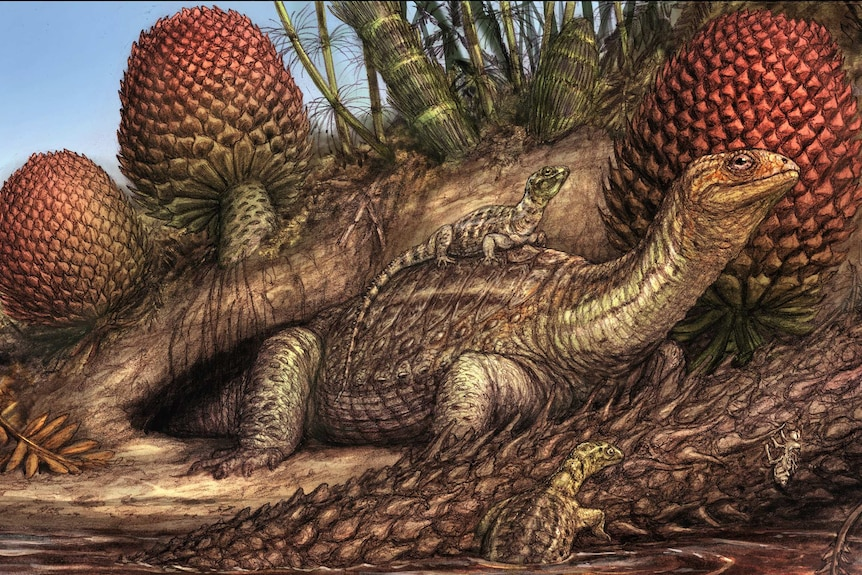 A drawing of a turtle-like creature with a smaller one riding on its back, and another emerging from water beside it
