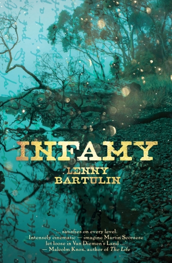 The book cover of Infamy by Lenny Bartulin, a blue river background