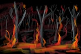 hand drawn very dramatic burnt out trees