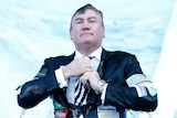 Eddie McGuire comes out of the water at the Big Freeze at the MCG