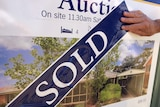 A real estate sign for a house auction with a sold sticker pasted across the front.