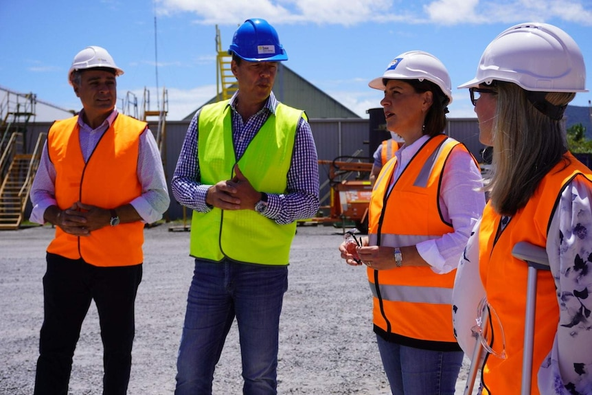 Two middle-aged men talk with two middle-aged women in hard hats & building site bibs on sunny day.