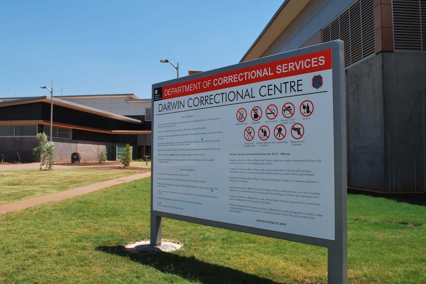 The sign at the front entrance of the new Darwin Correctional Centre at Holtze