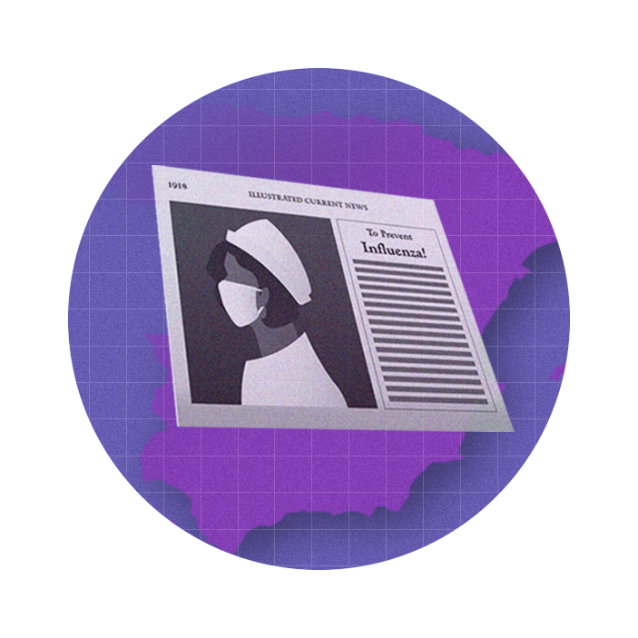 """graphic with a purple circle in the middle of which sits a newspaper clipping that says """"To Prevent Influenza!"""""""