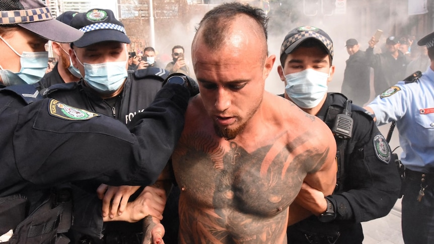a man arrested by police