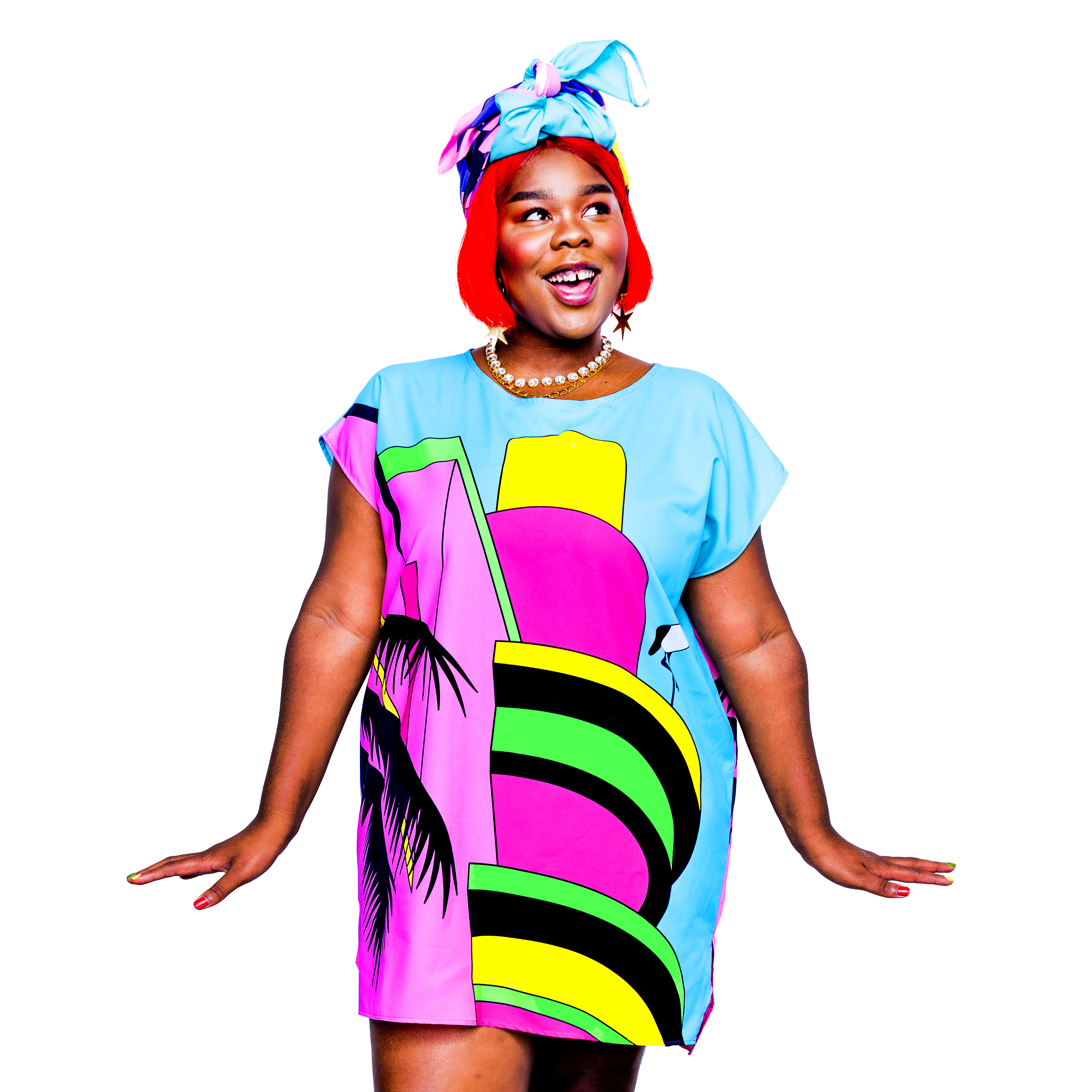 A woman in a brightly coloured dress.