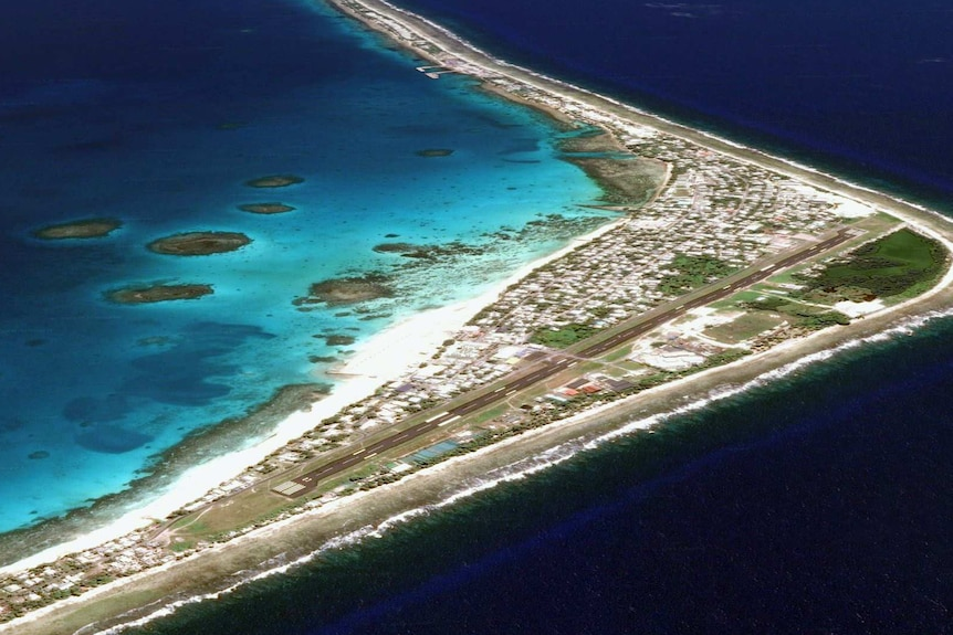 An aerial shot of Funafuti, the largest atoll in Tuvalu.