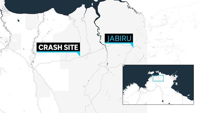A map that shows a crash site 60 kilometres west of Jabiru.