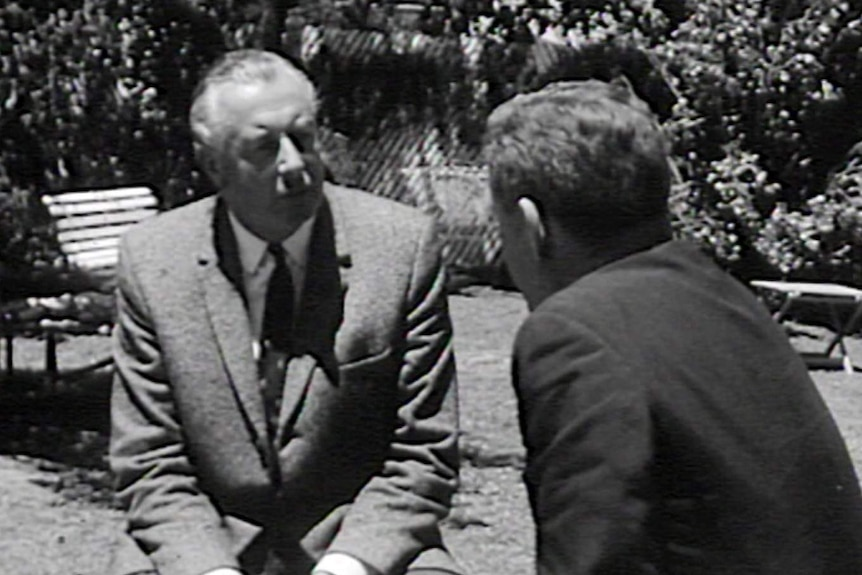Gough Whitlam conducts a media interview in the backyard of his Cabramatta home.