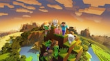 People and animals atop a mountain at sunset, in a blocky pixelated art style.