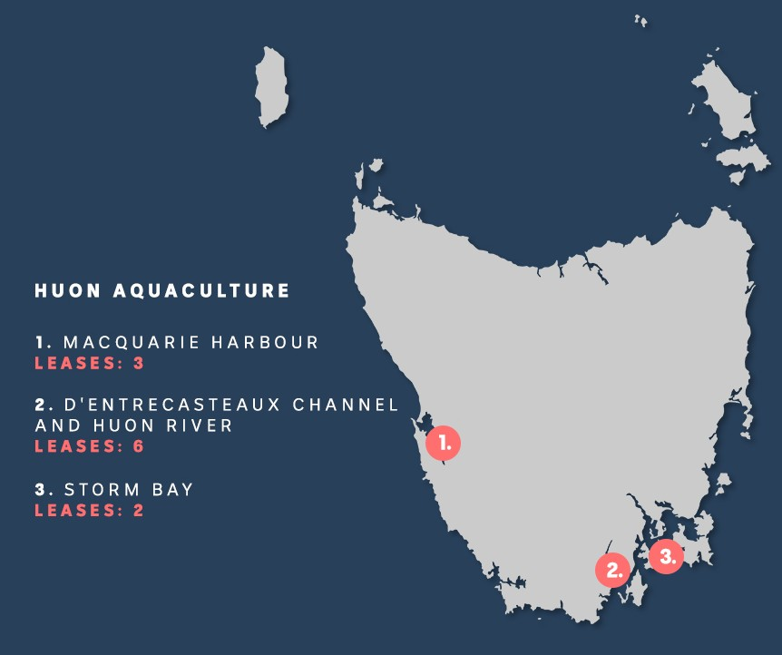 A map of Tasmania showing the location of 11 fish farm leases.
