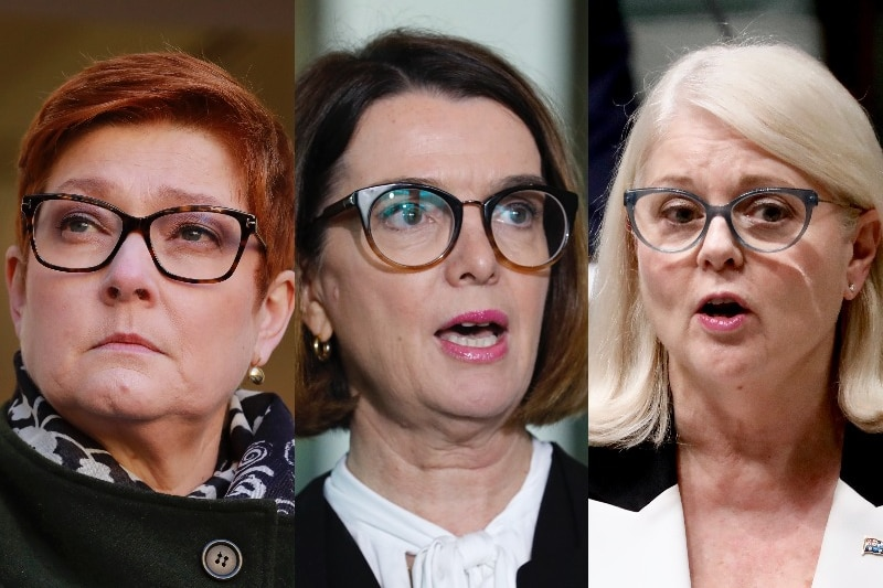 A composite image of three female politicians, all wearing glasses