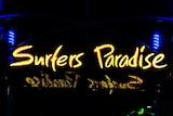 neon sign saying surfers paradise