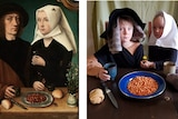 children recreate 1496 painting dressed as merchant couple with plate of beans on table