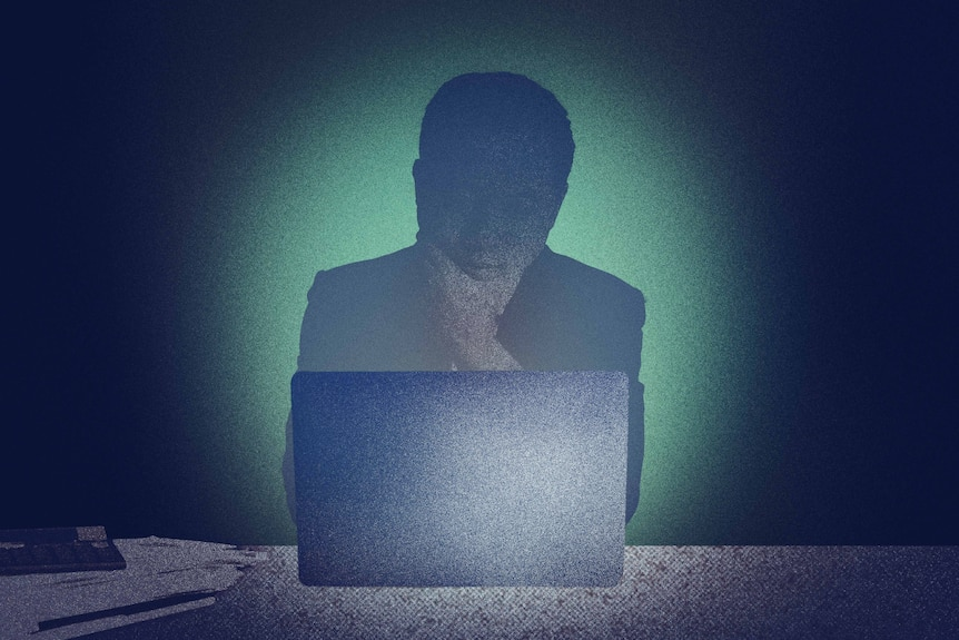 An illustration of a man sitting at desk looking at laptop in a dark room.