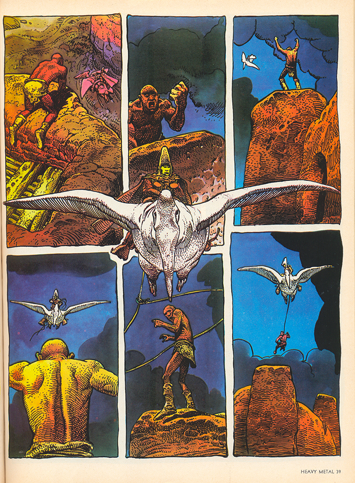 Colour scan of a page from Arzach by French artist Jean 'Moebius' Giraud.