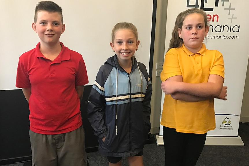 Tasmanian kids who helped to voice 'Little J and Big Cuz' animated series.