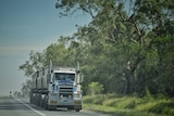A large truck on a highway.