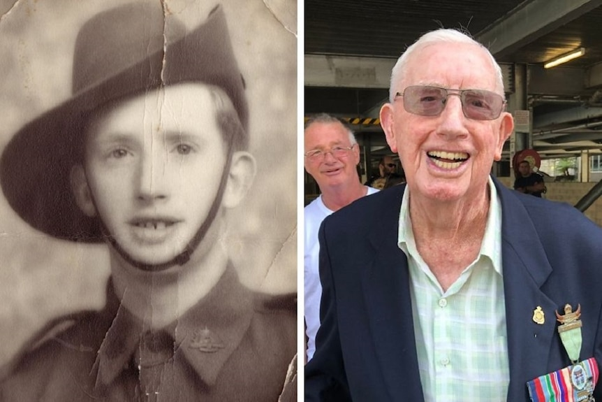 Two pictures of the same man. One as a young soldier. The other as an old man