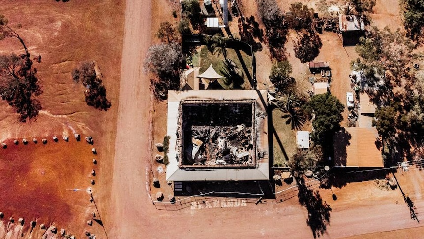A drone shot of an outback pub which was gutted by fire.