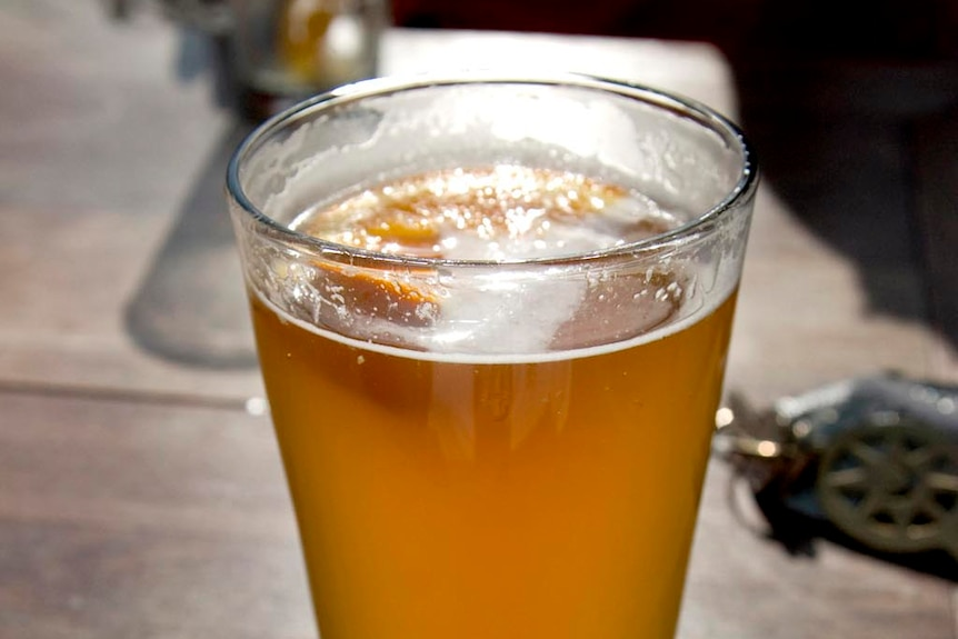 A pint of Lager, a type of German beer that is fermented and conditioned at low temperatures.