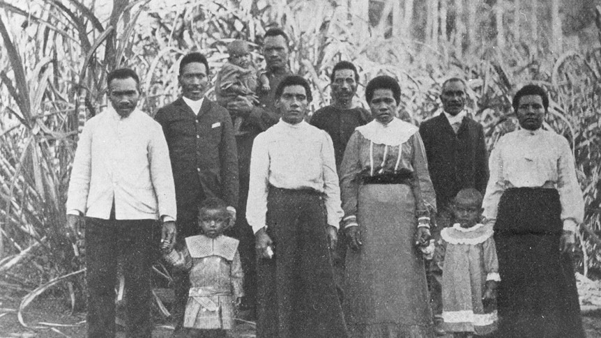 Australian South Sea Islanders at the Dillybar settlement near Nambour, Queensland, 1906.
