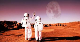 Kids in space in artist impression.