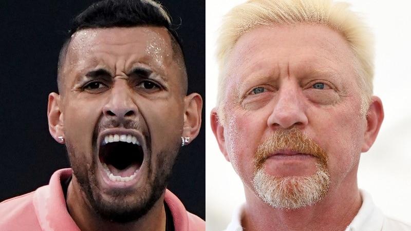 Split photo between an Australian tennis player and a German former great..