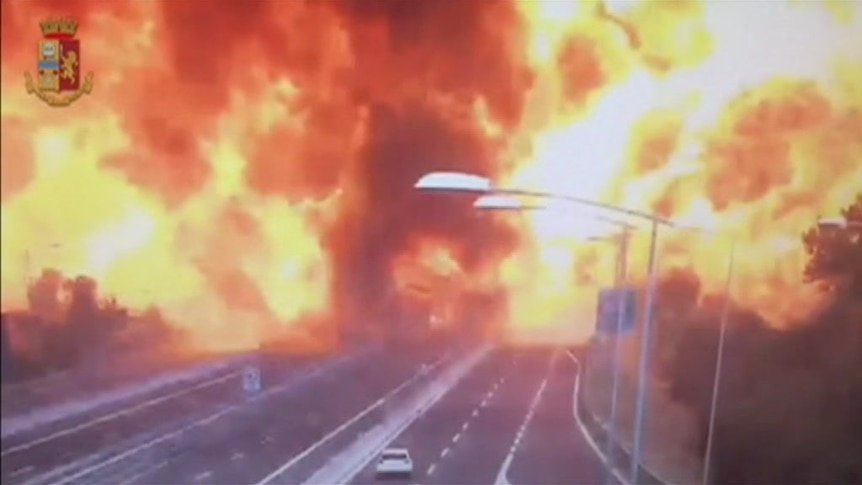 CCTV video shows explosion after fatal truck collision in Italy