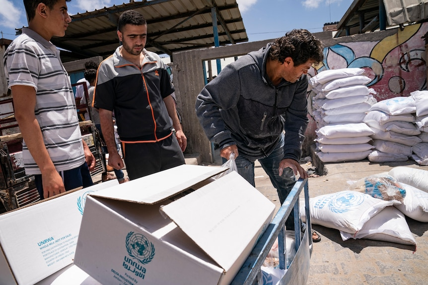 Bags of food aid for Palestinians