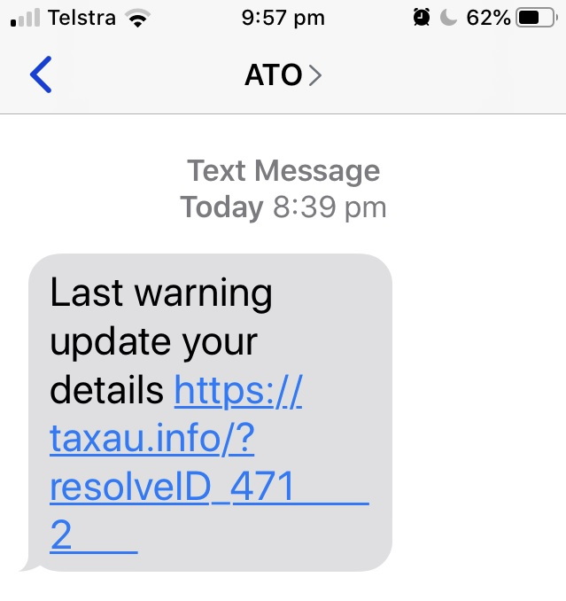 An example of a scam text message asking you to log into a service.