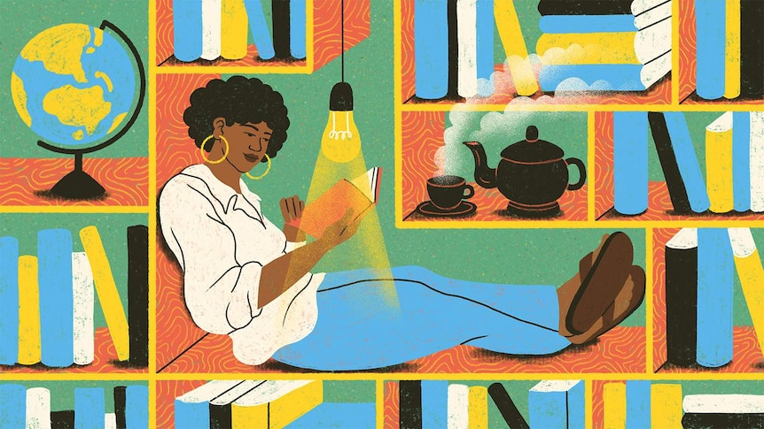 An illustration of a Black woman sitting in a bookshelf reading a book, a light illuminating the pages