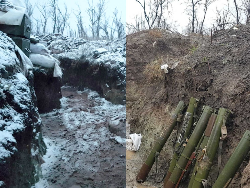 Picture showing the same trench in snowfall and dry.