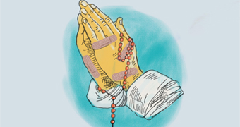An illustration shows a priests bandaged hands holding a rosary.