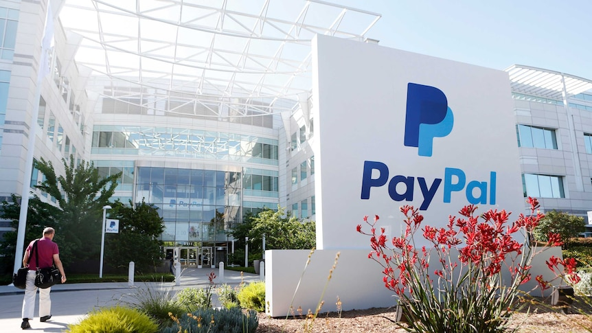 A PayPal sign is seen at an office building in San Jose, California.