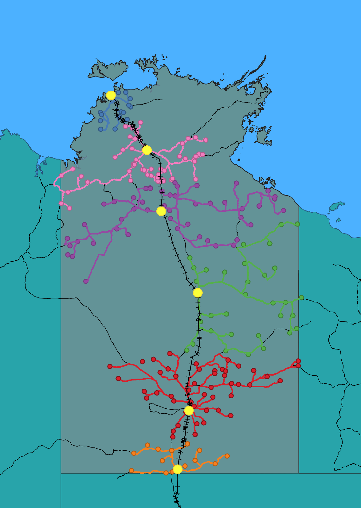 A map showing station routes via truck to train.