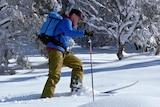 A man in a blue jacket skis in the snow.