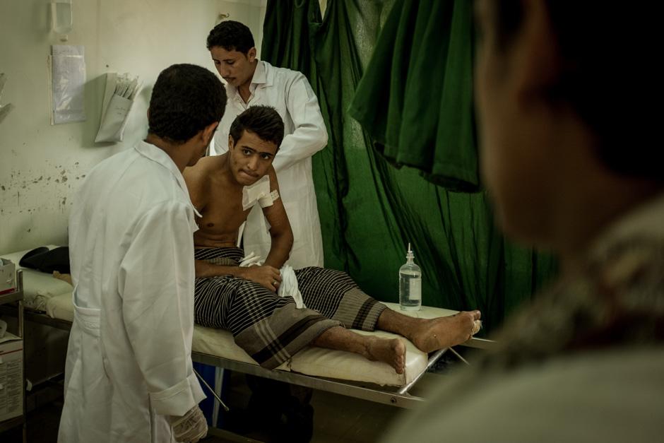 A young man is treated in the emergency room of Sada'ah's Yemeni Republic Hospital.