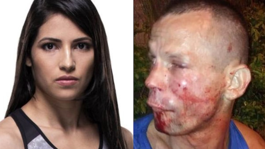 A composite image of UFC fighter Polyana Viana and the would-be thief covered in blood and scratches