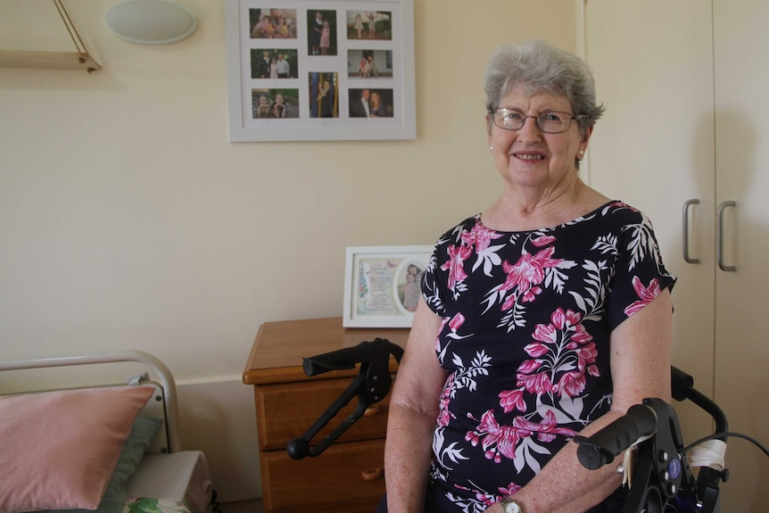 Noela Kelly in her room at Leinster Place aged care facility.