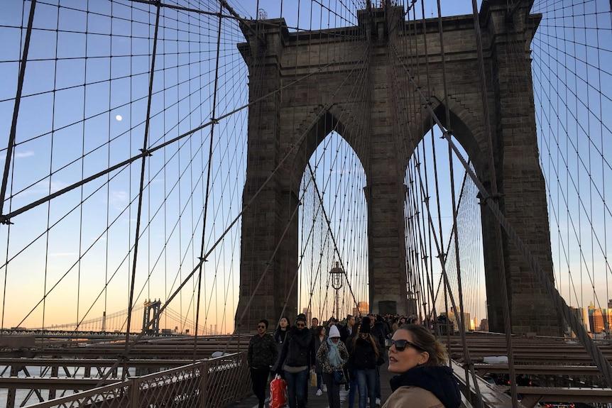Hannah Durack on Brooklyn Bridge in New York City.