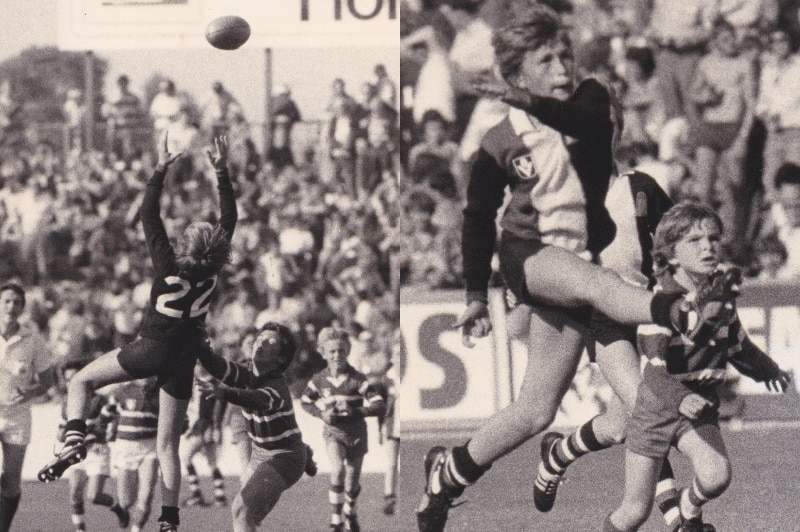 Two newspaper article photographs of young boys playing Aussie rules.