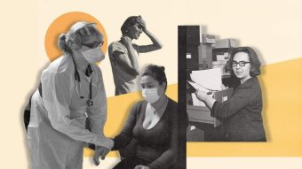 Abstract collage of woman in office with words Jobs for women! and orange coloured background.