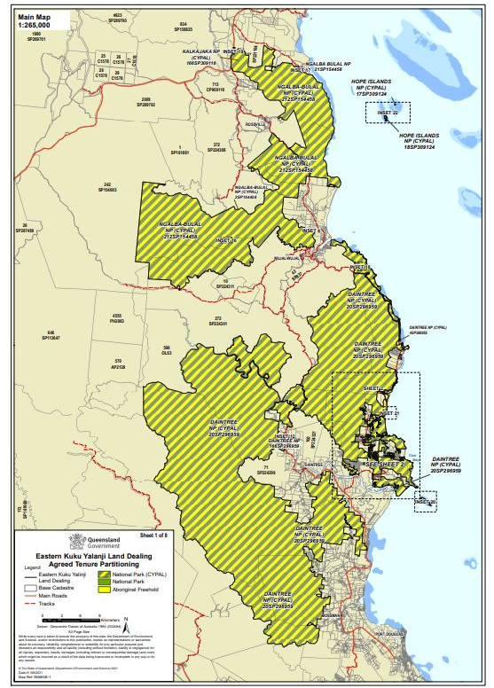 A map showing a huge section of Far North Queensland that has been handed back to the traditional custodians.