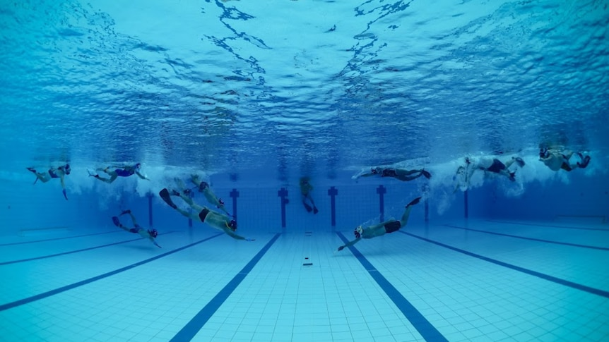 12 people swimming towards a hockey puck on the bottom of a pool.