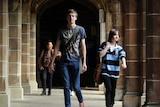 A university student walks on campus at Melbourne University.