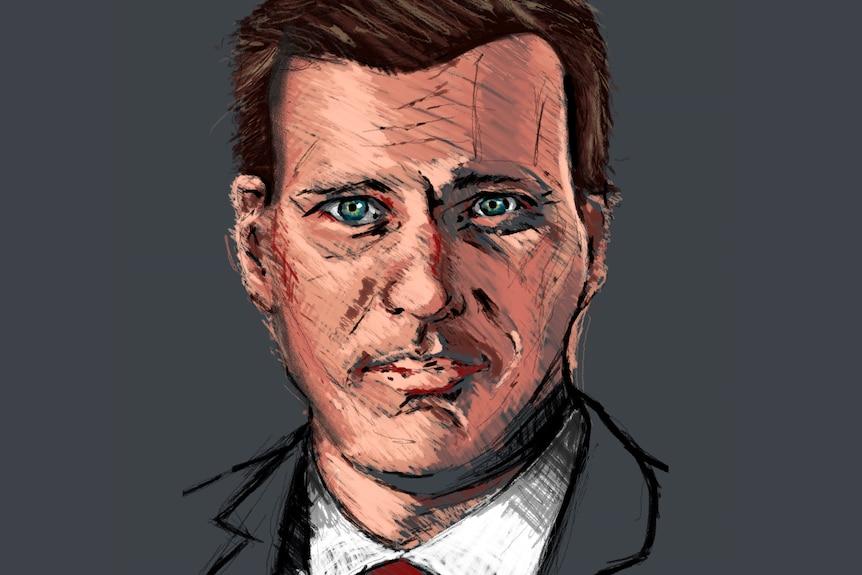 Hayden Rattray barrister mock court sketch.
