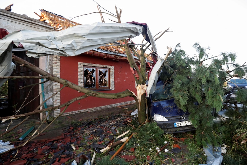 A broken tree stands in front of a collapsed house with a car crushed under its branches