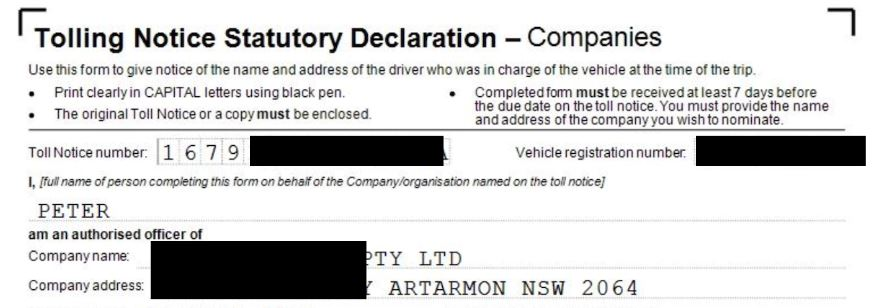 A redacted copy of one of the tolling forms which could be a security risk.