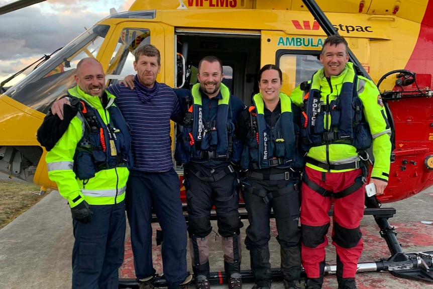 Michael Bowman with his rescue team in Hobart